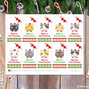 10匹の猫サンタ ギフトタグ (10個セット)