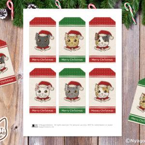 手描き 6匹の猫サンタ クリスマスギフトタグ