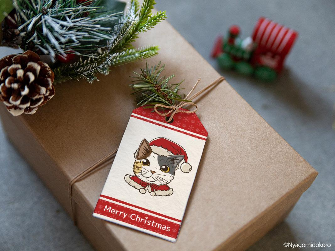 手描き 10匹の猫サンタ クリスマスギフトタグ