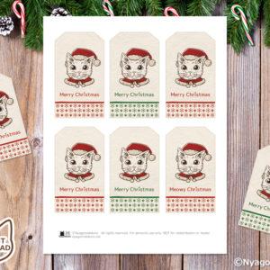 猫サンタ 塗り絵 クリスマスギフトタグ(6個セット)