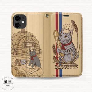 iPhone 手帳型ケース フランスパンとサバトラ猫