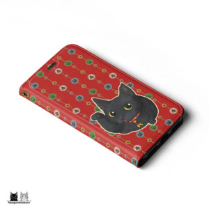 iPhone手帳型ケース 招き黒猫