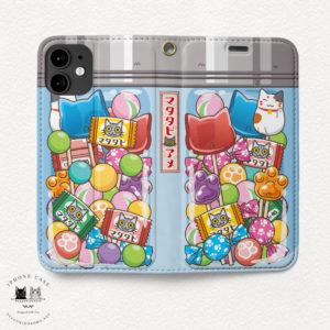 iPhone 手帳型ケース 駄菓子猫アメ