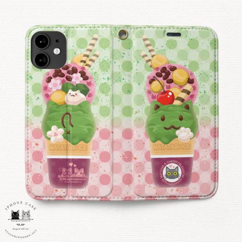 iPhone 手帳型ケース 猫アイス 抹茶&さくら