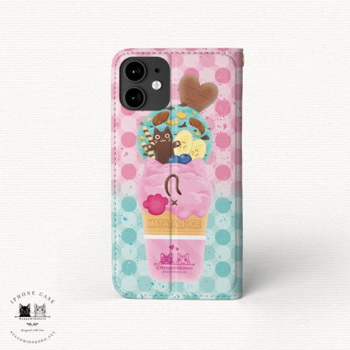iPhone 手帳型ケース 猫アイス ミント&いちご