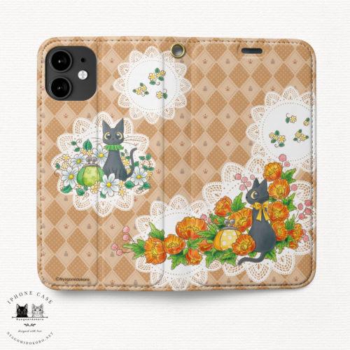 iPhone手帳型ケース 黒猫とポピー
