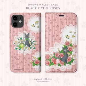 iPhone手帳型ケース 黒猫とローズ